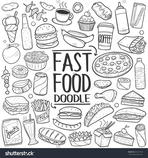 food doodle fast food doodle icons made stock vector 653217676