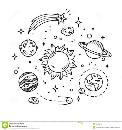 doodle galaxy y space doodle illustration stock vector image 57339771
