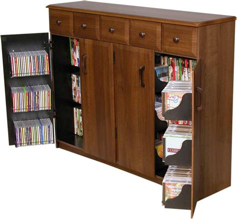 Cd Dvd Stands Cabinets Cd Dvd Storage Cabinet Rack Tv Stand W Drawers New Ebay