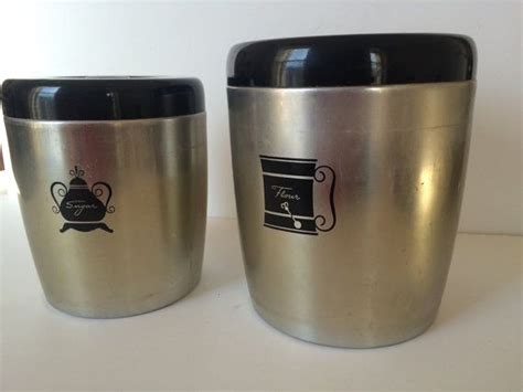 Vintage Canisters United States Us Vintage Canister Sets   vintage kitchen canister set aluminum tin from west bend