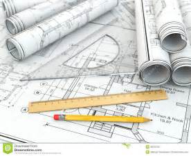 blueprint tool concept of drawing blueprints and drafting tools stock