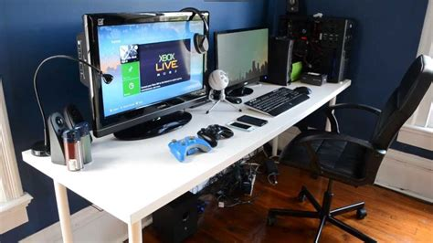 Gaming Desk Setup 2013 Game Room Pinterest Gaming Gaming Desktop Desk