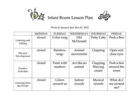 printable lesson plans for infants infant blank lesson plan sheets infant room lesson plan