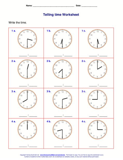 free printable time math sheets telling time worksheets for 2nd grade