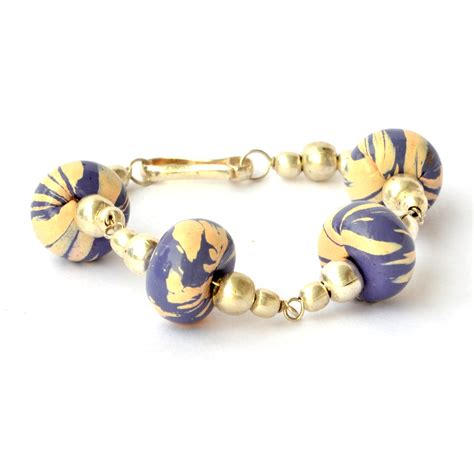 Handmade Bracelets - handmade bracelet purple with stripes