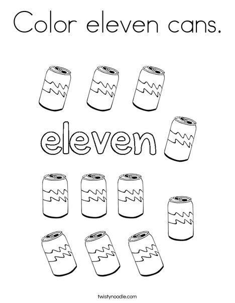 coloring pages for number 11 color eleven cans coloring page twisty noodle