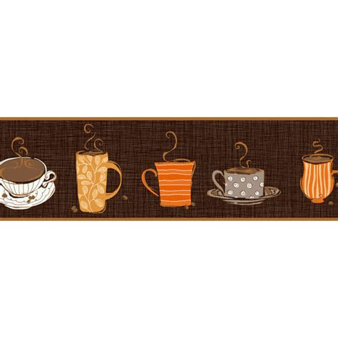 wallpaper borders coffee cups brown coffee border