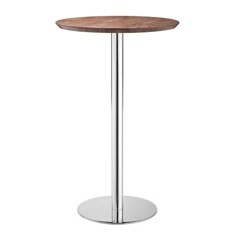 Stainless Steel Bistro Table Shop Zuo Modern Bergen Stainless Steel Walnut Bistro Table At Lowes