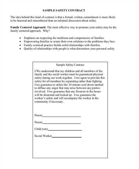 contract for safety template 8 safety contract sles templates in pdf