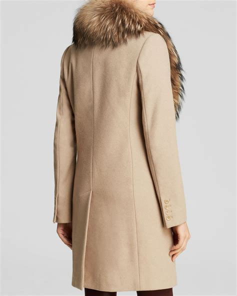 Fur Trim by Sam Crosby Wool Coat With Fur Trim In Brown Camel Lyst