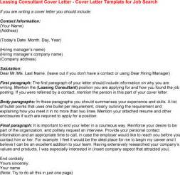 Leasing Cover Letter Exles Cover Letter For Leasing Experience Resumes