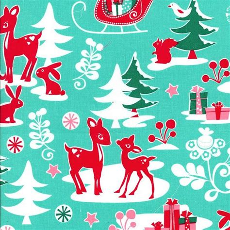 wallpaper christmas material michael miller christmas fabric red deer aqua by