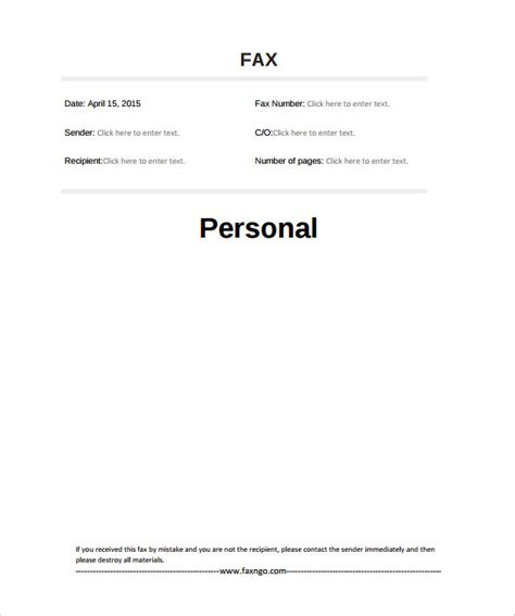 fax template printable 10 basic fax cover sheet templates free sle exle