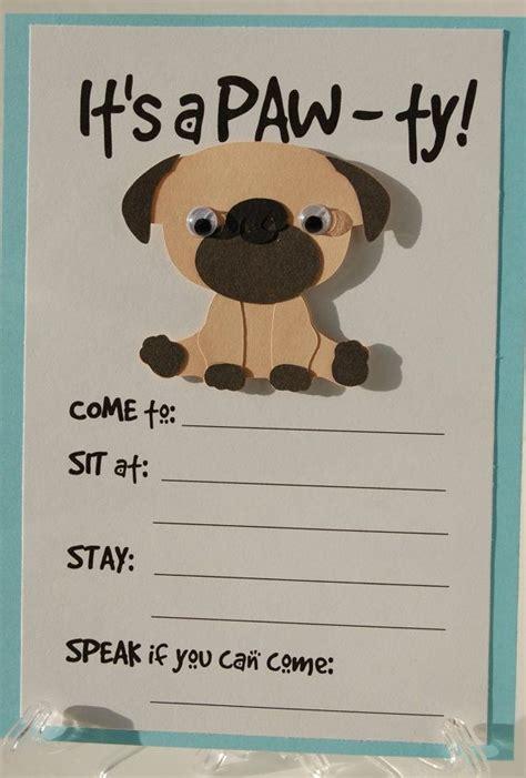 puppy birthday card template pug invitation puppy birthday invites