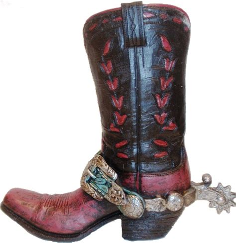Cowboy Boot Vase by Rwra9935 Black Cowboy Boot Vase With Turquoise Spur