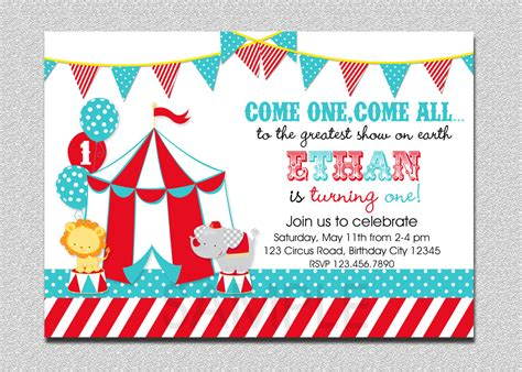 carnival circus birthday invitation circus by