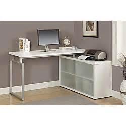 Office Depot Glass Desk Monarch Specialties L Shaped Computer Desk With Frosted Glass Doors White By Office Depot
