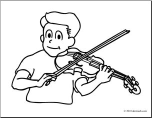 playing violin coloring page play the violin clipart 40
