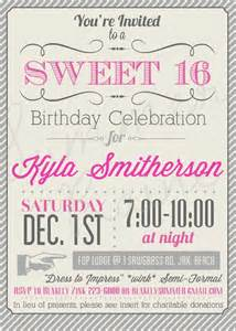 custom color printable sweet 16 invitation