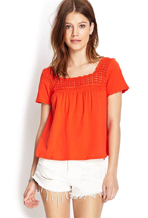 Babydoll Top forever 21 crochet knit babydoll top in tomato lyst