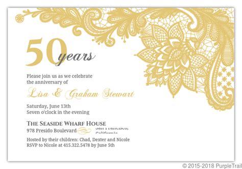 design anniversary invitation elegant lace golden anniversary invitation 50th