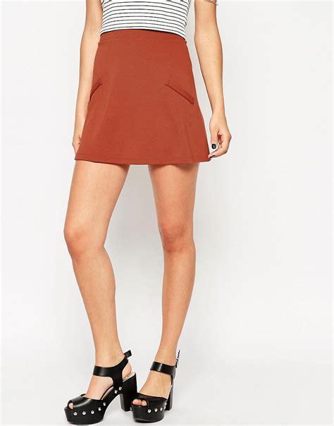 asos asos a line skirt in ponte with pockets at asos