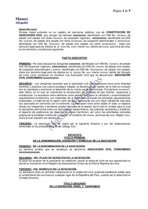 modelo de contrato de una sociedad civil crear empresas modelo de minuta de constituci 211 n de asociaci 211 n civil