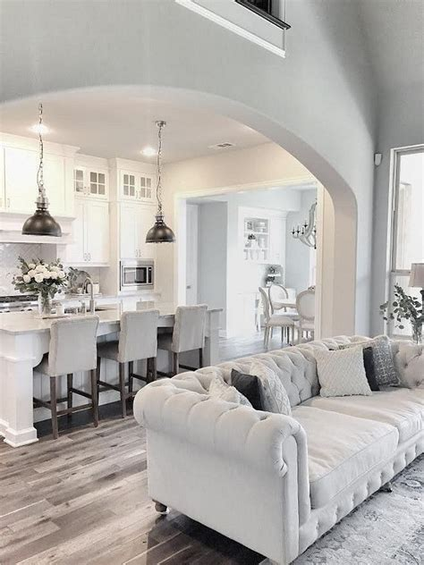 grey and white living room love this fresh clean white kitchen accented with