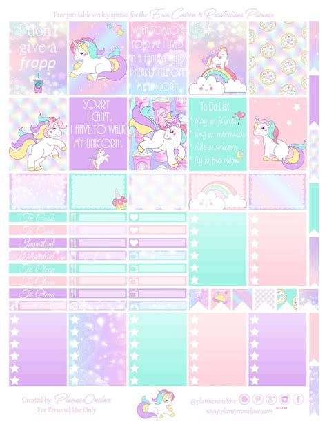 printable weekly planner cards free printable unicorn planner stickers from planner