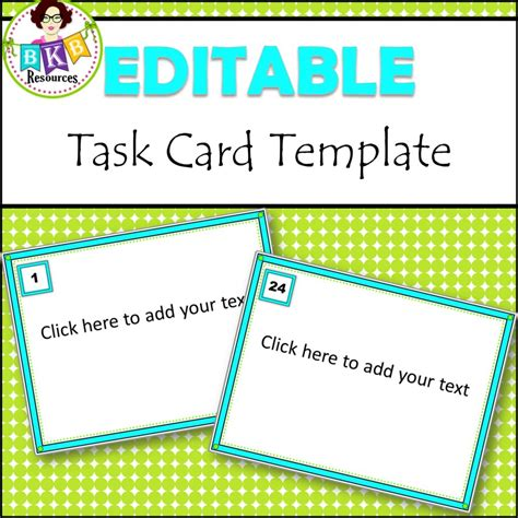 Editable Task Card Template by Editable Task Card Templates Bkb Resources