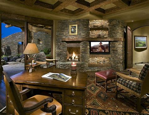 Country Home Decorations by 15 Exquisite Home Offices With Stone Walls