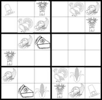 printable thanksgiving sudoku puzzles thanksgiving sudoku game worksheets easy hard