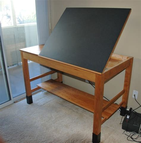 Cherry Drafting Table With Adjustable Composite Top Custom Drafting Table