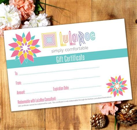 lularoe gift card template lularoe gift certificate printable digital by