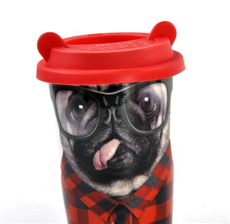 pug travel mug coffee crew pug travel mug with rubber ears lid pink cat shop