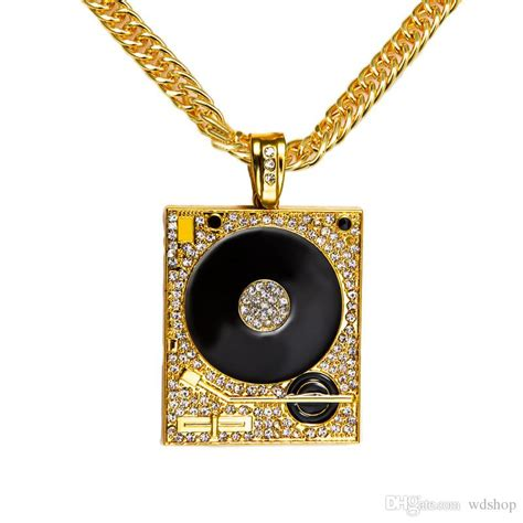 wholesale original  gold dj phonograph big pendant