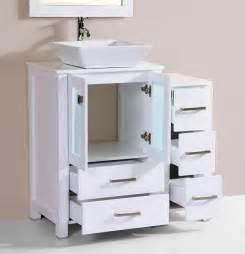 White Vanity Cabinet Vessel Sink 36 Quot Newport White Single Modern Bathroom Vanity With Side