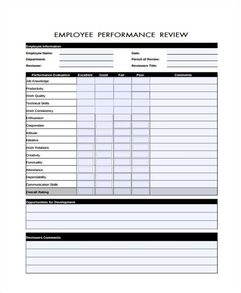 29 sle employee evaluation forms