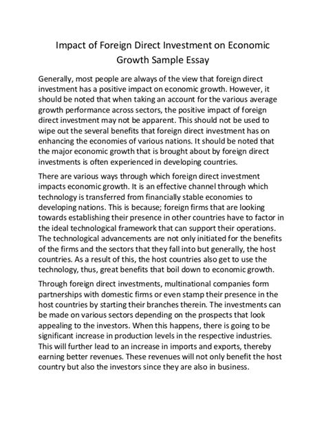 Economic Growth Essay impact of foreign direct investment on economic growth sle essay
