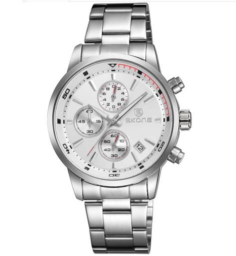skone 7390 most popular stainless steel mens chronograph