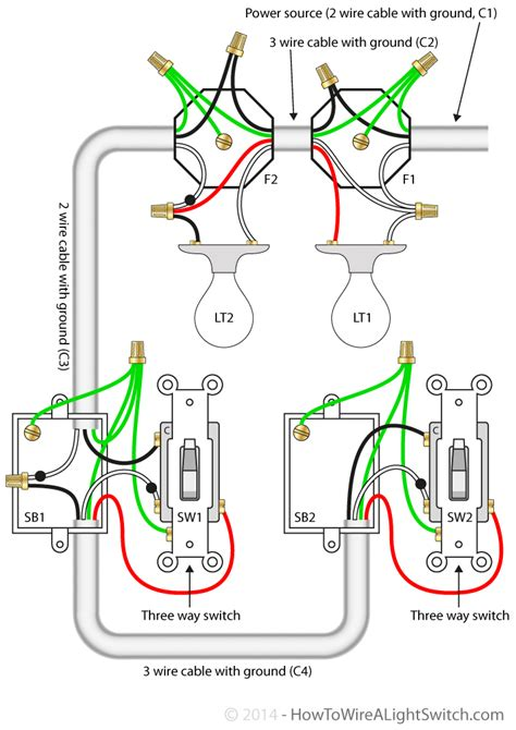wiring a three way switch lights diagram three