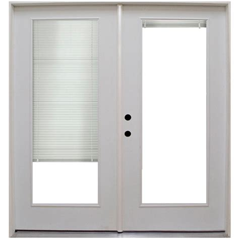 Mini Blinds For Patio Doors Steves Sons 71 In X 79 1 2 In Premium Lite Low E Mini Blind Primed White Steel Patio