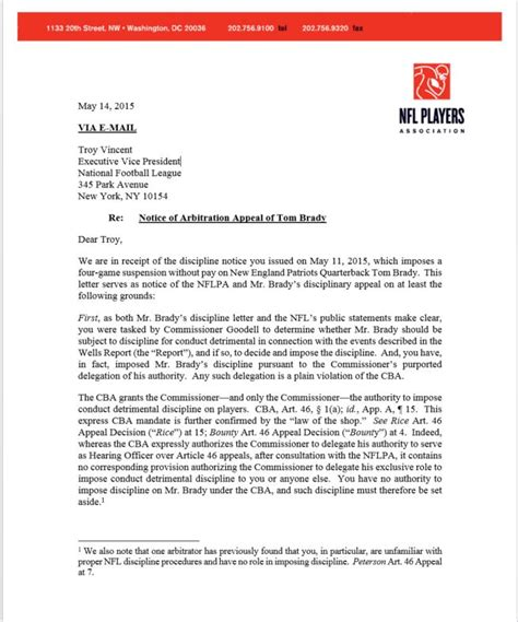 Appeal Notification Letter Nfl Players Association Notice Of Arbitration Appeal Of Tom Brady