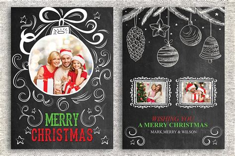 Christmas Card Template Card Templates Creative Market Card Photo Templates Free