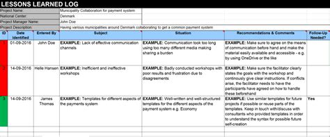 prince2 lessons learned report template prince2 lessons learned excel template