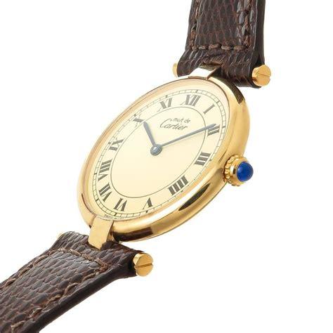 cartierr ct014 green silver cartier vermeil must de cartier vendome quartz wristwatch