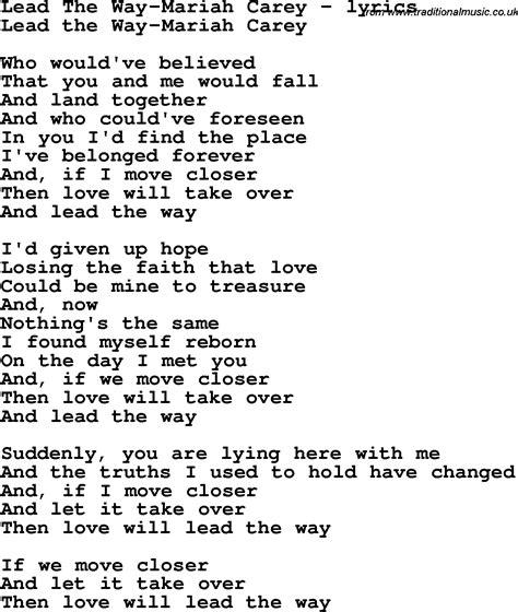 lyrics carey song lyrics for lead the way carey