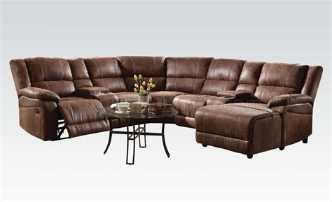 brown suede sectional couch zanthe ii motion sectional sofa in brown padded suede by acme
