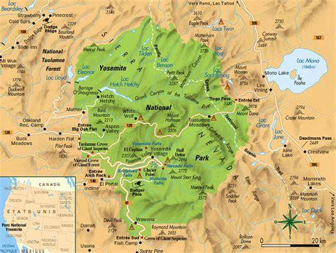 map of yosemite carte du yosemite yosemite map
