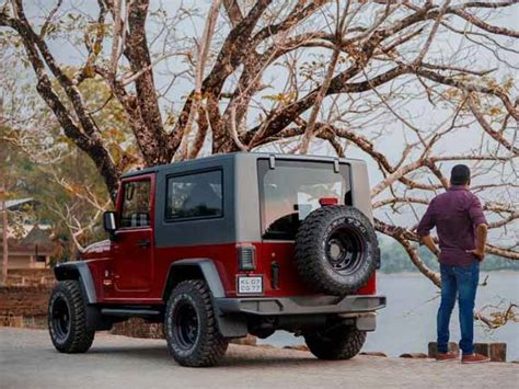 mahindra thar modified to wrangler mahindra thar disguised as a jeep wrangler drivespark